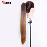 AOSIWIG 24 Synthetic Long Straight Claw Ponytail Hair Extension High Temperature Fiber Hair Pieces Style Fake