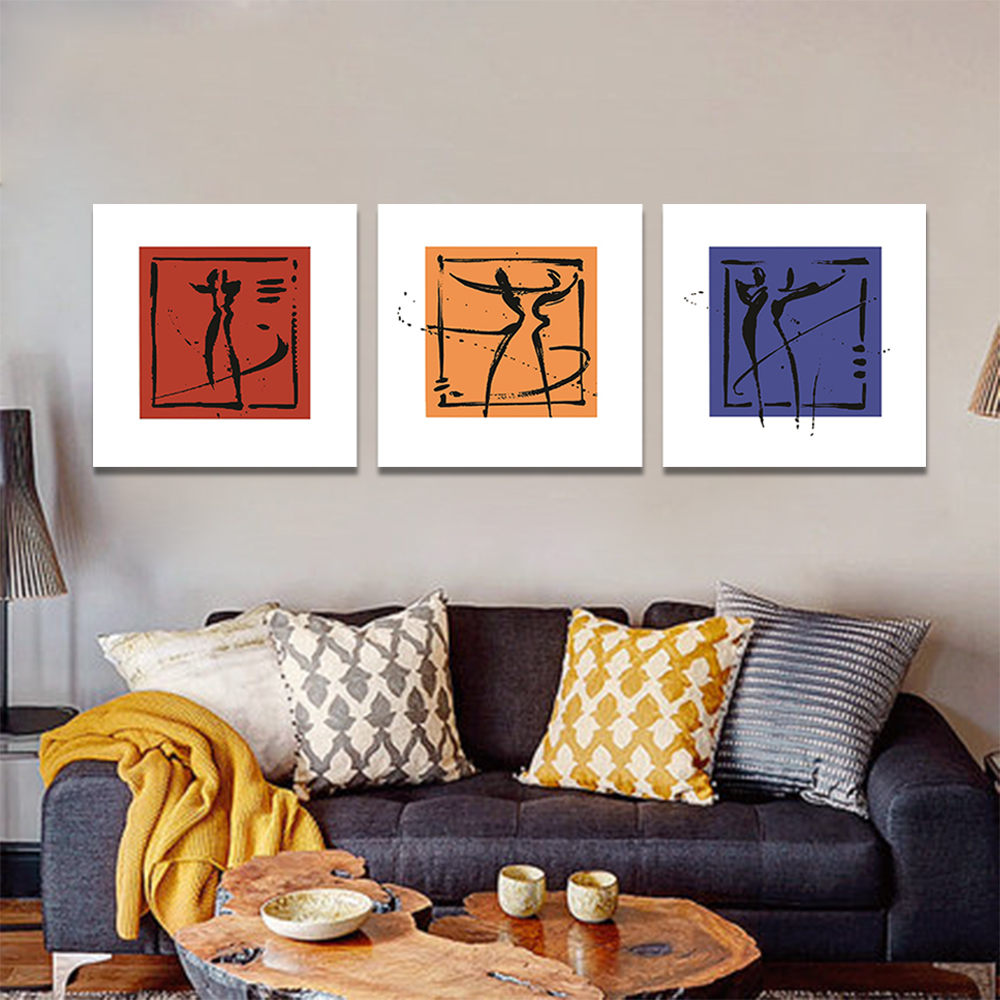 Unframed 3 pairs Abstract Canvas Painting Dance Moves Wall Art Decor Prints Wall Pictures For Living Room Wall Art Decoration