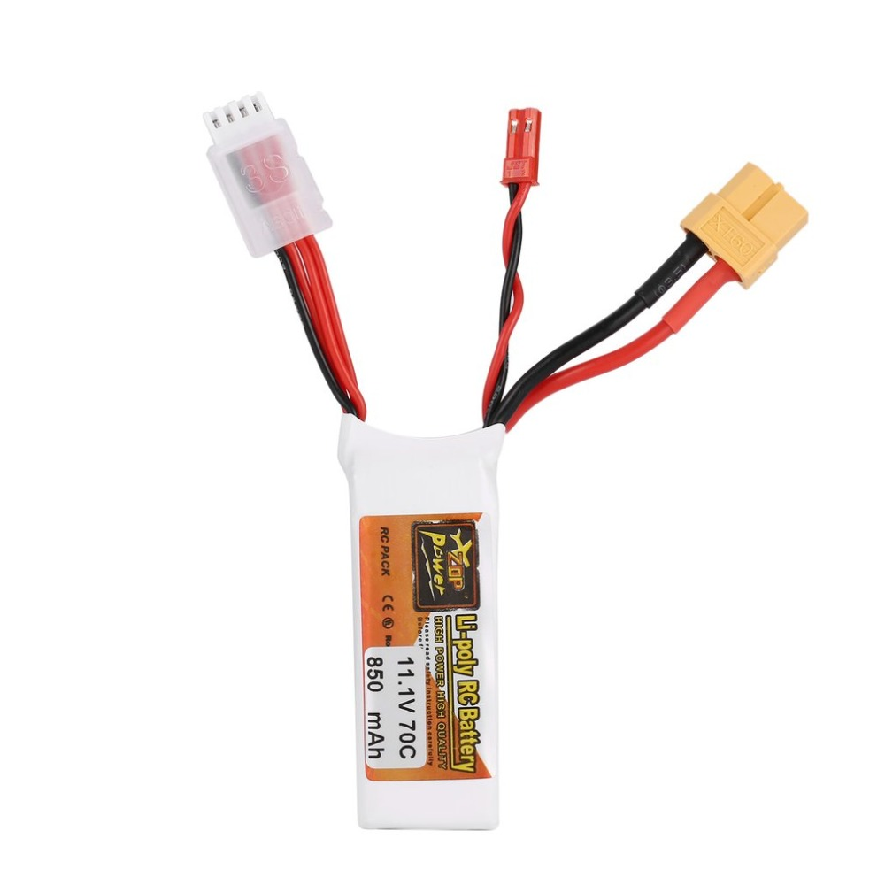 ZOP Power 11.1V <font><b>850mAh</b></font> 70C <font><b>3S</b></font> 1P <font><b>Lipo</b></font> Battery JST XT60 Plug Rechargeable for RC Racing Drone Helicopter Car Boat Mode image