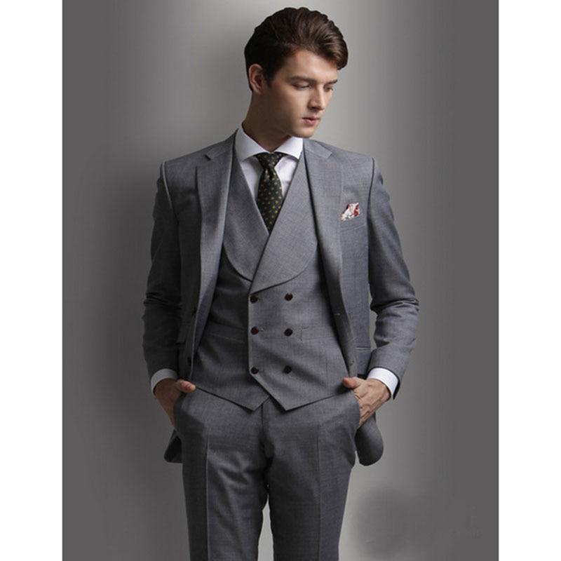 Trajes Novio Doble Hombre Th Por Gris Image Hombres Chaleco chaqueta as  Smoking Nuevo Masculino Chaleco Pantalones Botonadura Boda Terno Encargo ... db5761890e9