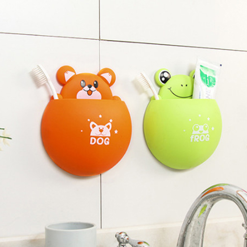 Cute Cartoon Animal Toothbrush Holder Strong Sucker Toothbrush Toothpaste Rack Decorative Box Bathroom Storage Accessories image