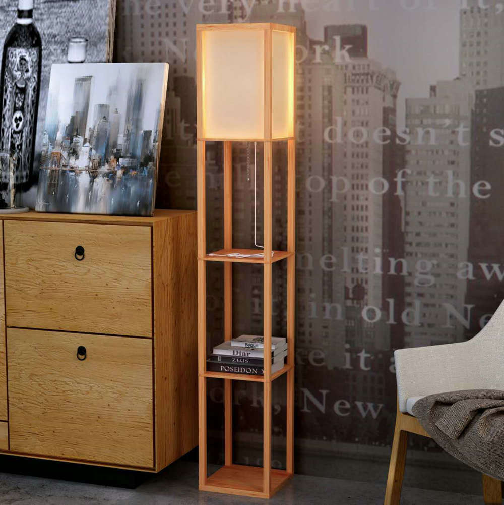 Modern LED Decorative Wooden Loft Floor Lamp Black White Standing Lamp with Table Storage Shelf for Home Living Room Bedrooms modern wooden floor lamps bookshelf floor stand lights tea table standing lamp living room bedroom locker nightstand lighting