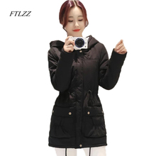 FTLZZ Winter Coat Women 2017 New Parka Casual Outwear Military Hooded Thickening Cotton Coat Winter Jacket