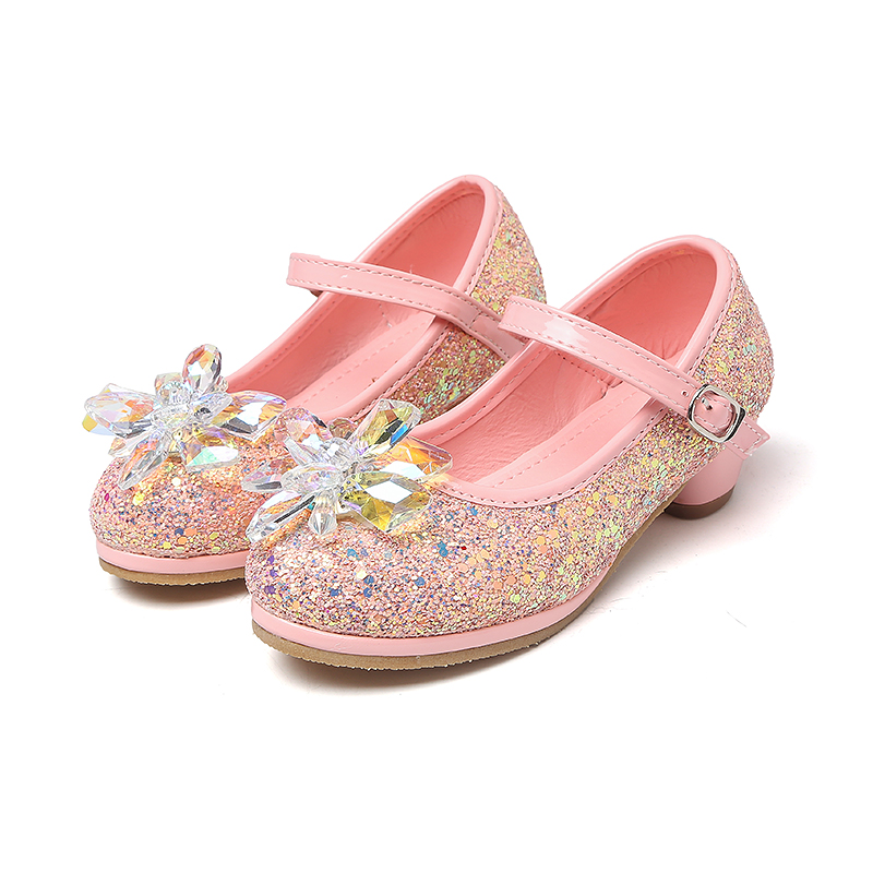 MSMAX Kids PU Glitter Wedding Shoes Crystal High Heels Girl s Princess  Performance Shoes Mary Jane Sequins Dance Sandals cb1232d2b035