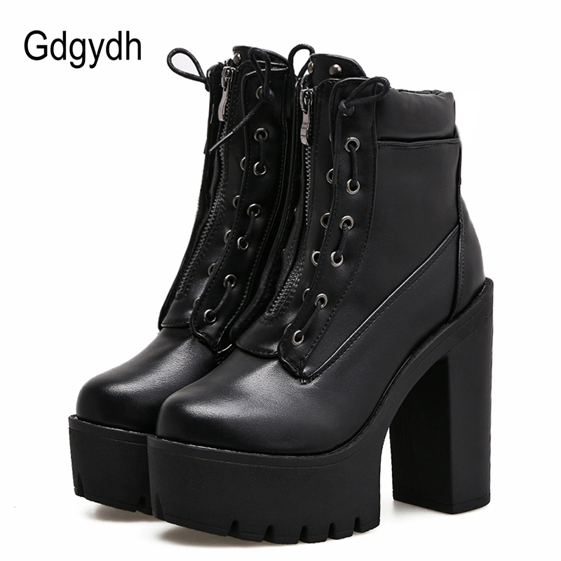 Gdgydh Women Ankle Boots Platform 2017 New Autumn Fashion Zipper Rivet High Heels Female Boots Black Leather Shoes Woman Party phyanic platform gladiator sandals 2017 new casual wedge shoes woman summer women ankle boots side zipper party shoes phy5036
