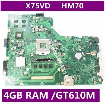 X75VD MAIN_BD._4G/AS V1G GT610M With 4GB RAM Mainboard HM70 For Asus R704V X75VD X75VB X75VC X75V Laptop Motherboard Test OK