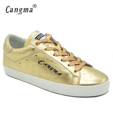 Фотография CANGMA Platform Sneakers Women Casual Shoes Brand Girls Gold Genuine Leather Flats Cow Suede Female Footwear Top Quality Shoes