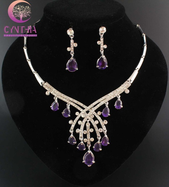 Лучший Подарок Оптовая и Розничная Мода ювелирные изделия Белый позолоченный Фиолетовый Кристалл Циркон Ювелирные Наборы Серьги Ожерелье