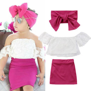 New Pudcoco Kids Baby Girl Outfits Solid Color Off shoulder Lace Floral Tank Shirt Tops High Waist Red Skirts Fashion Summer Set(China)