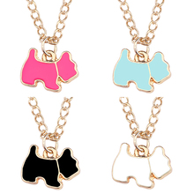 Cute DIY Animal Pendant Colorful Kawaii Dog Necklaces&Pandants Cartoon Gold Chain Puppy Doggie Necklace For Women DropShipping