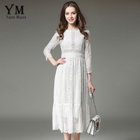 YuooMuoo New European Design Vintage Romantic Lace Dress Star Fashion White Midi Dress High Quality Early