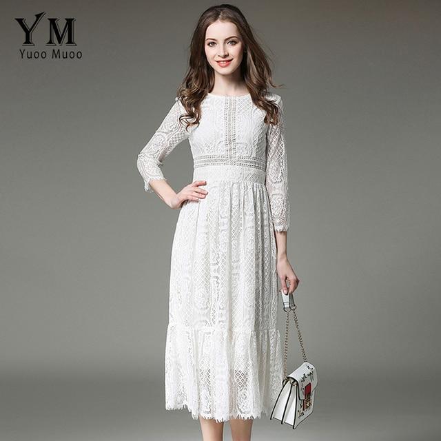6bde116e3 Yuomuoo nuevo diseño europeo Vintage romántico vestido de encaje estrella  moda blanco Midi vestido de alta