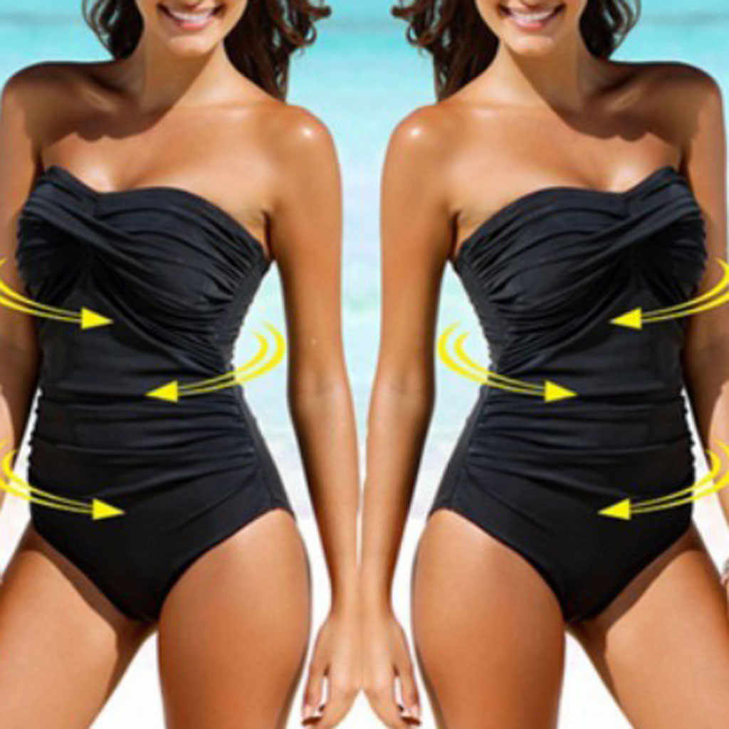 Women's solid color one-piece bikini with added weight and sex appeal Swimsuit black Slim fit Swimwear No shoulder strap biquini