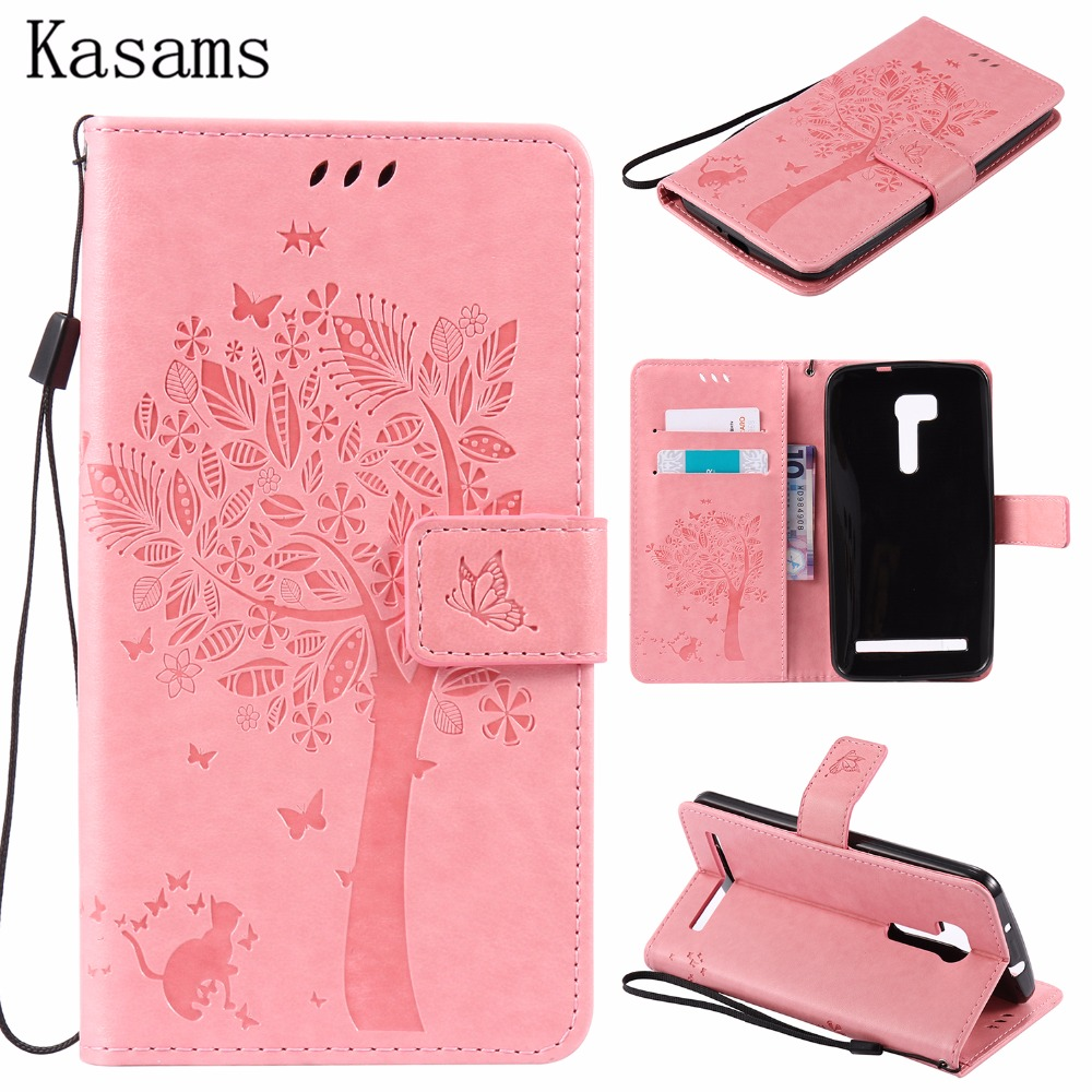 3D Tree For Asus Zenfone Go ZB551KL 5.5-inch PU Leather Mobile Case For Asus Zenfone Go ZB452KG 4.5-inch Wallet Flip Stand Cover