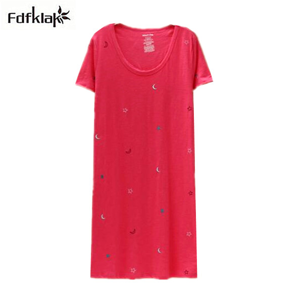 Vetement Femme Cotton Women Nightgowns New 2018 Nightgown Female Plus Size Sleepshirt Loose Casual Print Sleepwear Night Dress