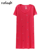 Vetement Femme Cotton Women Nightgowns New 2017 Nightgown Female Plus Size Sleepshirt Loose Casual Print Sleepwear