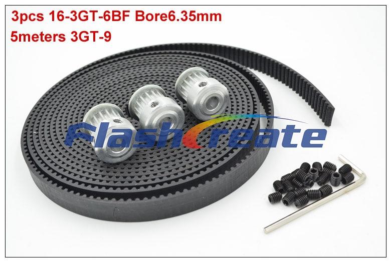 3pcs 16 Teeth 3GT Pulley Bore 6 35mm 5meters 3GT Rubber Timing Belt Width 9mm GT3