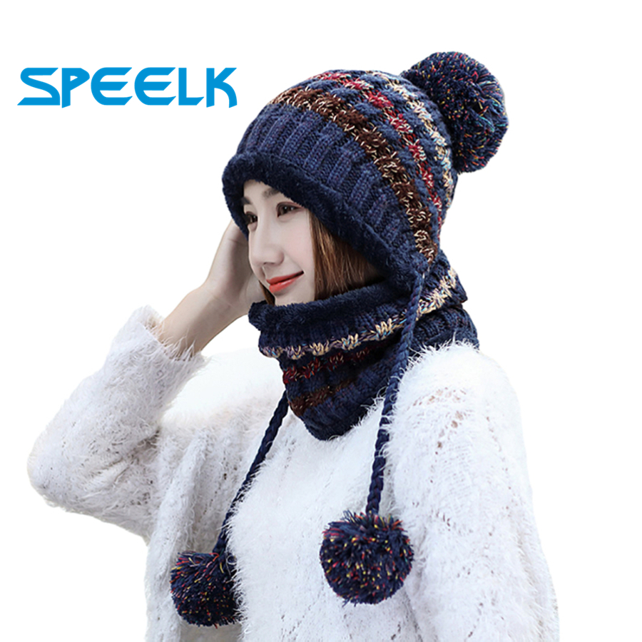 Warm Knit Hat Women Thick Warm Beanies Skullies Hats Female Knitted Bonnet Beanie Caps Lady Winter Velvet  Knit Bike Cap Bib