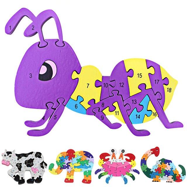 Деревянные Головоломки Развивающие Игрушки Животных Корова Слон Ant Динозавров Игрушка-Головоломка Номера Букв Алфавита Игрушки для Детей