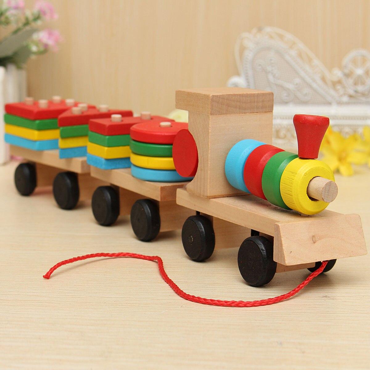 Jimitu Kids Trailer Baby Toys Wooden Train Vehicle Blocks Geometry/colour Congnitive Blocks Education Birthday/christmas Gift Mild And Mellow Toys & Hobbies