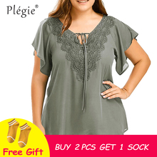 Plegie Plus Size Lace Patchwork Shirt Womens Tops And Blouses Short Sleeve Big Size Blusas Femininas Blusas Mujer De Moda 2018