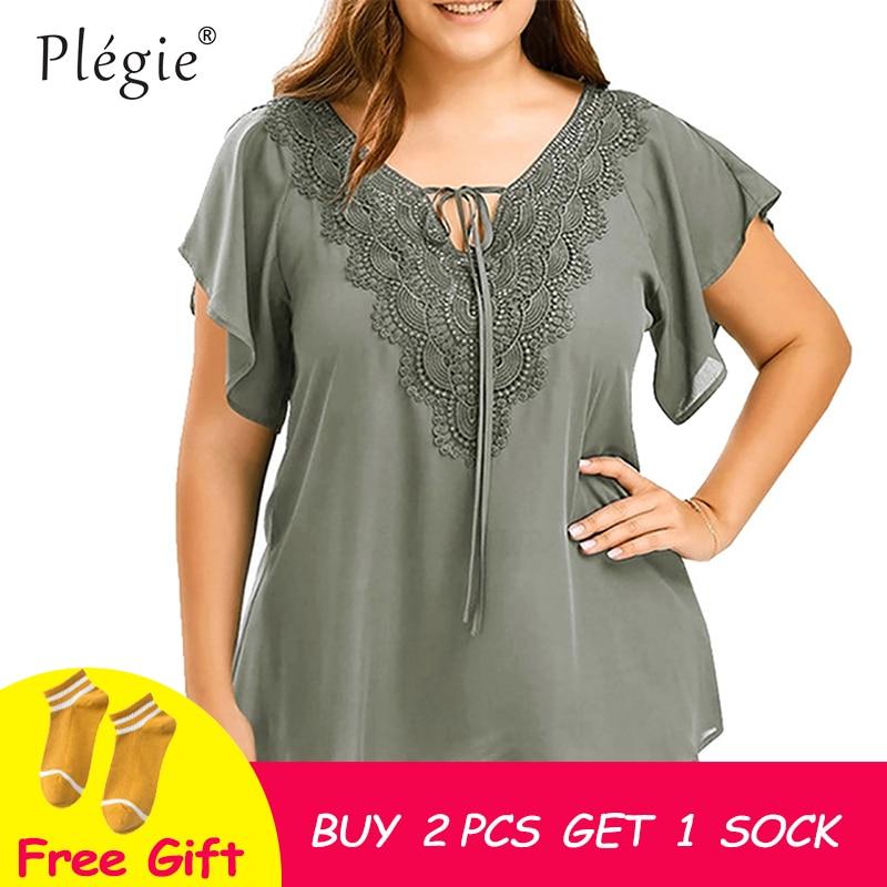 Plegie plus size rendas retalhos camisa das mulheres topos e blusas de manga curta tamanho grande blusas femininas mujer de moda 2018