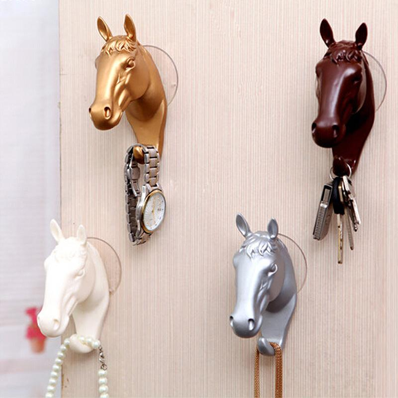 1PC Suction Cup Small Horse Hooks Decorative Wall Hook Resin Home Storage Organization Wall Jewelry Keys Hangers S2