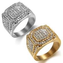 ba96d6dfc52b HIP Hop plata Micro Pave Rhinestone helado Bling cuadrado grande anillo IP  Gold Filled anillos de acero inoxidable para los homb.