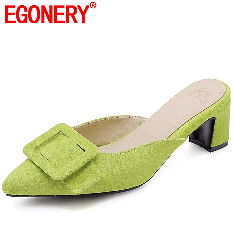 EGONERY party fashion women Outside Flock slippers Cute girl Solid green 32-43 plus size summer 5.5cm high Square heels shoesEGONERY party fashion women Outside Flock slippers Cute girl Solid green 32-43 plus size summer 5.5cm high Square heels shoes