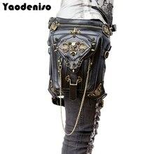 Yaodeniso Fashion Gothic Steampunk Skull Retro Rock bag Men Women Waist Bag Shoulder Bag Phone Case Holder women messenger Bag