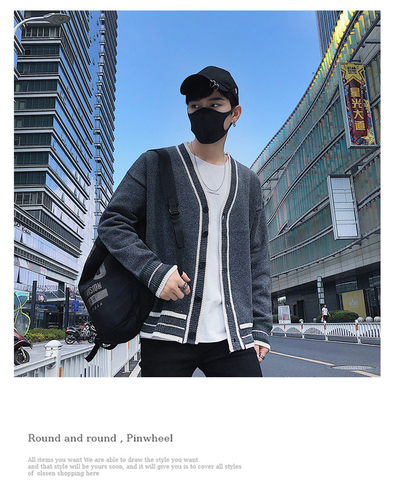 Check Button Cardigan Male Oversize Loose Streetwear (9)