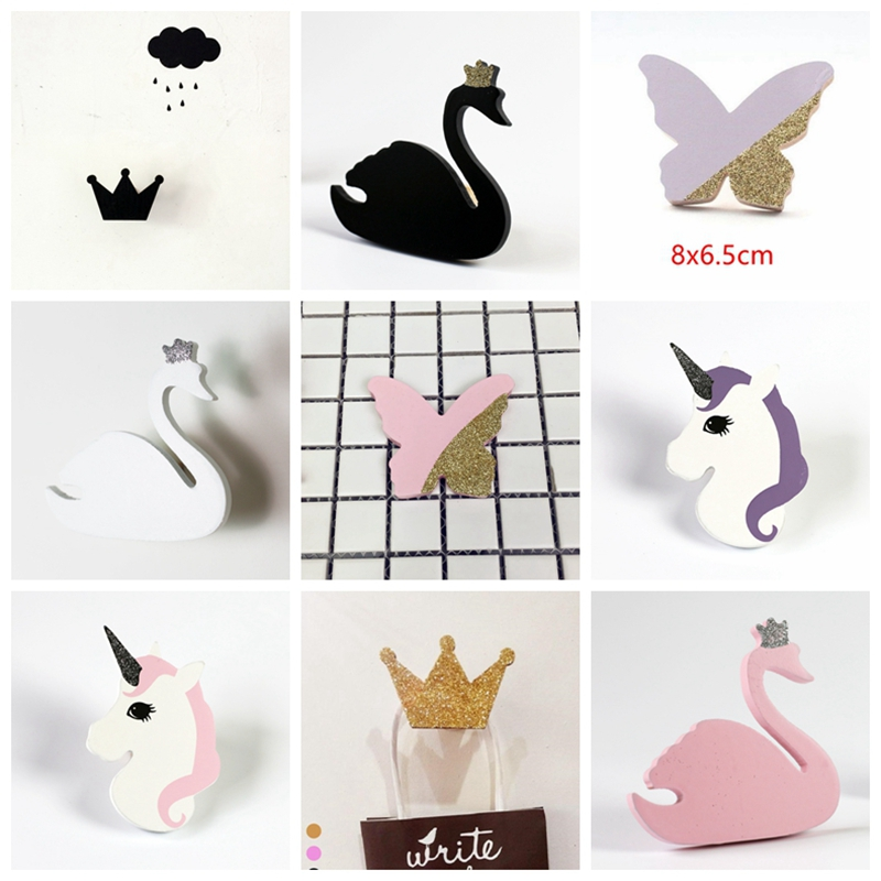 Buy cute swan unicorn wooden clothes hook wall hanger hooks holder bag rack for - Kids decorative wall hooks ...