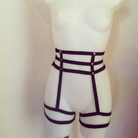 2016 New pastel goth studded suspender stocking belt cage bust leg bondage belt bondage foot garter belt Circle spikes retail