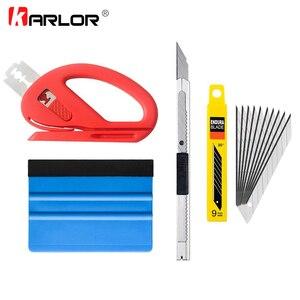 Image 1 - Ferramentas de raspagem do carro, 4 pçs/set envoltório de vinil ferramentas de raspar o veículo, kit de instalação de cortador, faca, estilização do carro, acessórios