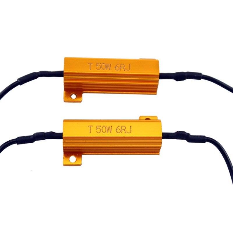 2 шт./лот стайлинга автомобилей, для автомобилей и мотоциклов, 50 Вт 6 Ом Canbus резистор для Светодиодный фар H1 H3 H4 H7 H8 H9 H11 9005 9006 HB3 HB4