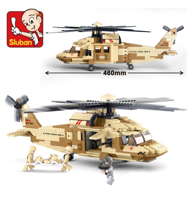 Sluban M38-B0509 UH-6OL Military Black Hawk helicopters building blocks fighter toys Compatible speelgoed syma black hawk uh 60 gyro 3ch ик управление s102g