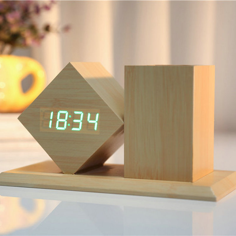 LED Desktop Clock Acoustic Wood Alarm Wood Pen Temperature Alarm Calendar Display Multifunctional Digital Wood Clock