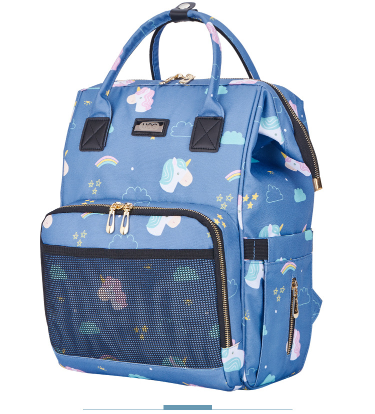 5pcs Nappy Changing Bags Baby with Changing Mat Messy Bag Waterproof Bag Blue