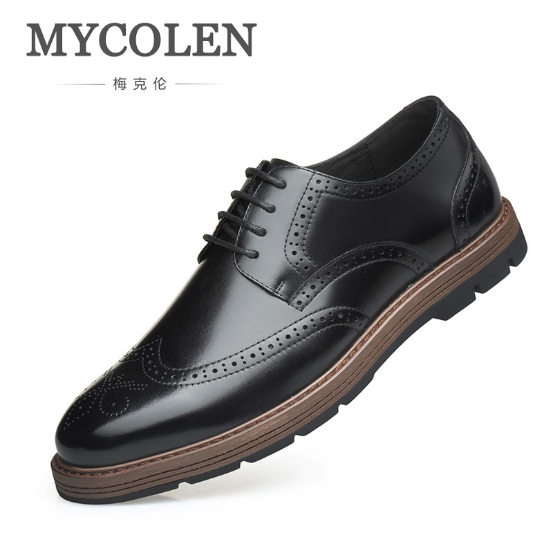 MYCOLEN New Fashion Brand Male Leather Casual Business Shoes Black British Carved Bullock Men Shoes Klasik Erkek Ayakkabi brand new spring men fashion lace up leather retro brogue shoes casual flat breathable carved shoes bullock oxfords shoes wb 55