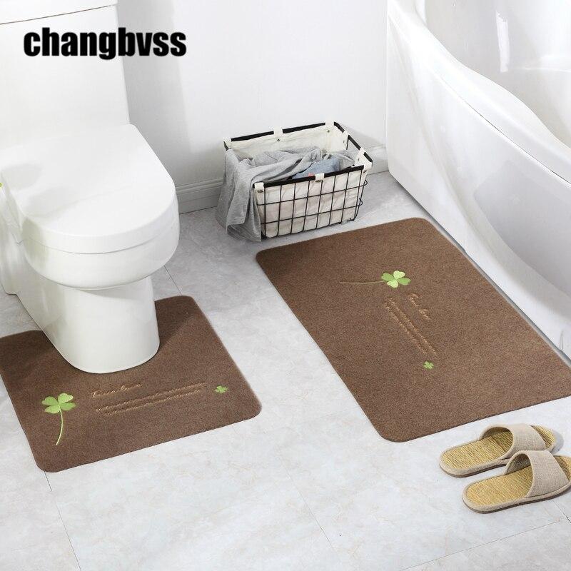 2 pcs / set Murah Elegan Bunga Pencetakan Mandi Tikar, berbentuk U dan Persegi Karpet Toilet Mandi Tikar Alat Kamar Mandi Gratis pengiriman