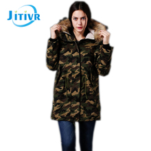 Jitivr Newest EuropeStyle Winter Camouflage Hooded Down Fashion Women's Long Loose Outwear Coat Female Thick Jacket 2016