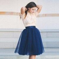 Modern Fashion Skirts Women Elastic Waist A Line Knee Length Tulle Skirt Pink Tutu Skirt Street Style
