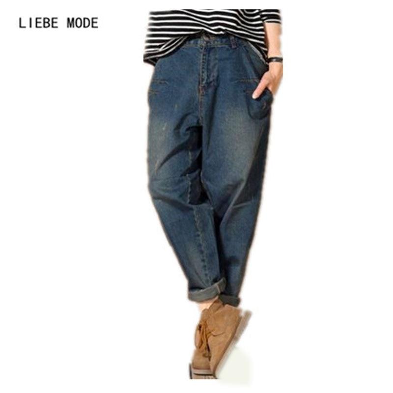 2019 Designer Coréen jeans baggy Femmes Mi Taille Lâche pantalon denim jean boyfriend Femme