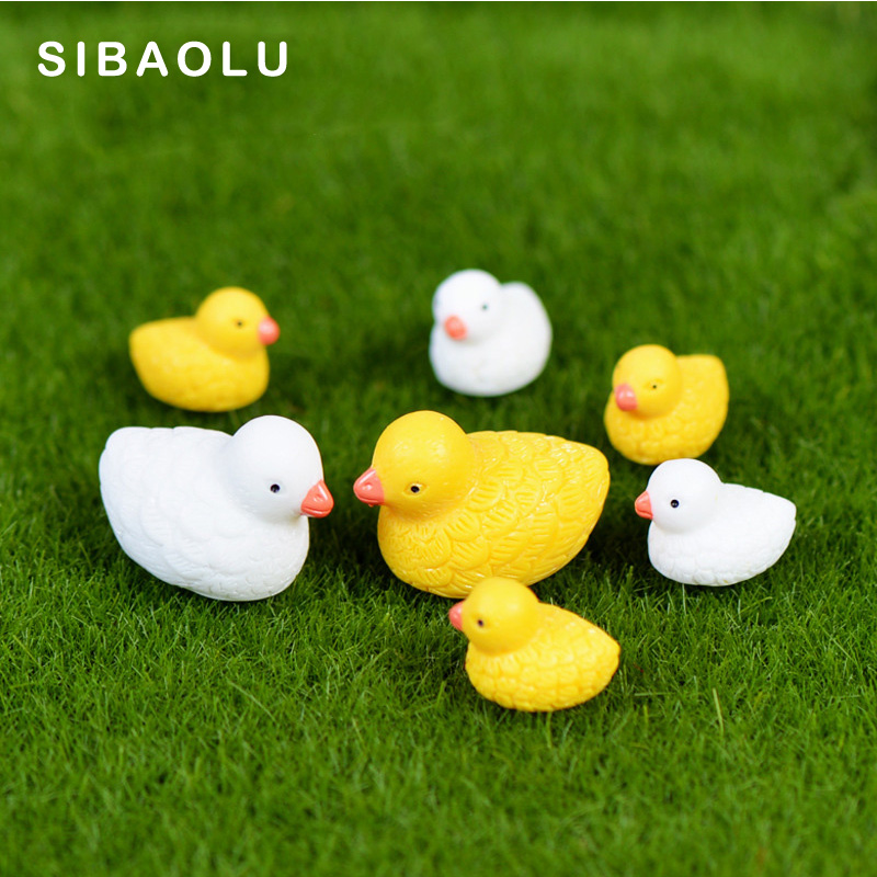 Detail Feedback Questions About 4pcs White Yellow Mom Son Ducks Miniature Figurine Cartoon Animal Home Decor Decoration Cake Mini Fairy Garden Ornament Toy
