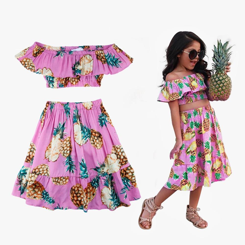 Pineapple Printed Girls Party Dress Summer Girls Shoulderless Crop Top Ruffles Long Dress Girls Summer Floral Princess Dresses floral printed empire waist dress with tube top