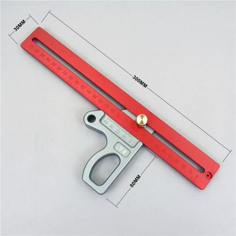 New Woodworking Tools 45 Degree Ruler Aluminum Alloy Woodworking Scriber 200mm 300mm