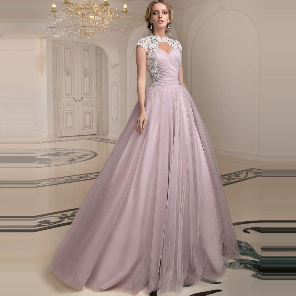 Modern Blush Ball Gown Tulle Wedding Dresses High Neck Open Back ...