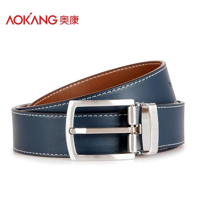 Aokang Double  Leather Belts For Men Cowskin Pin Buckle Leather Designer Mens Belt Black Blue Cintos De Marca Masculinos