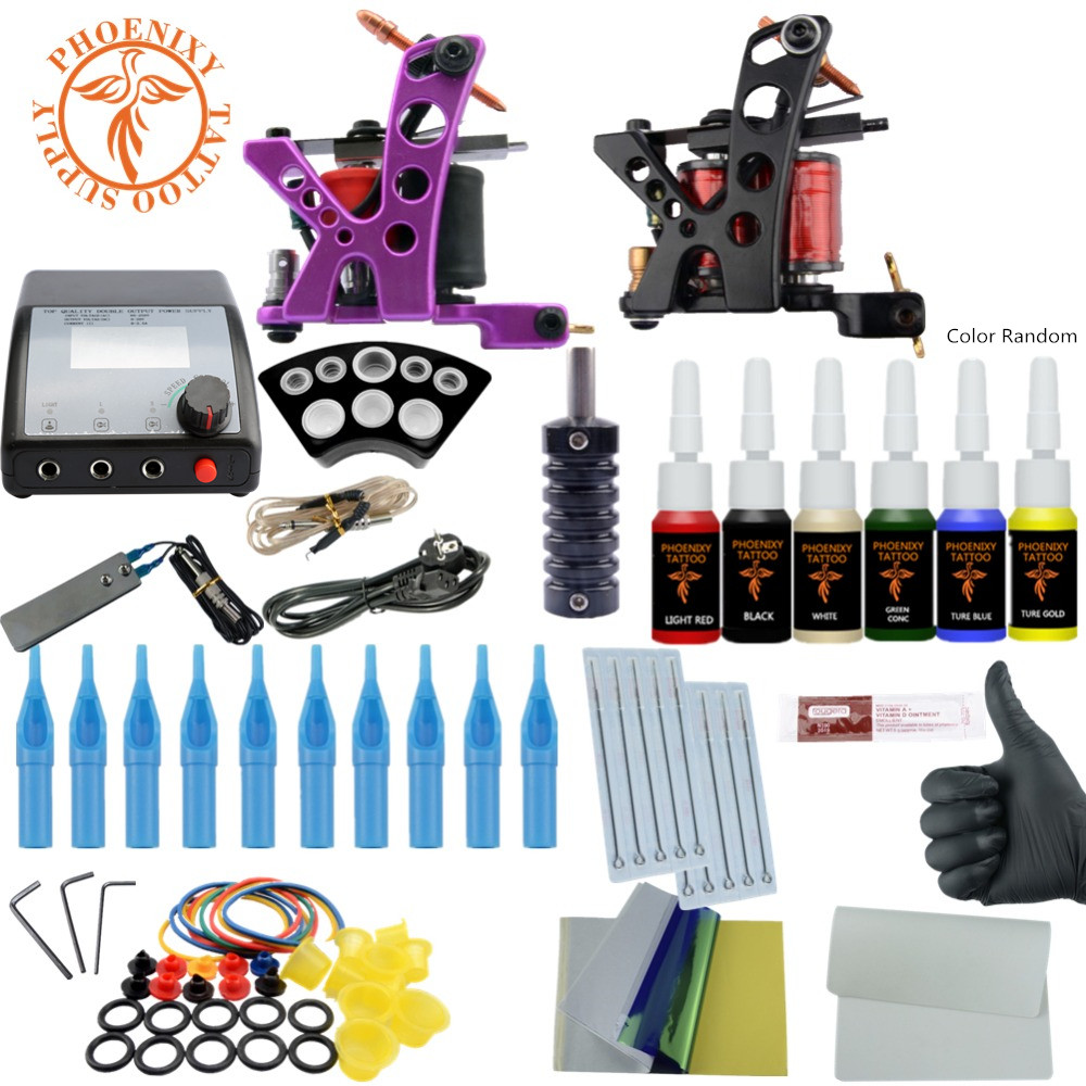 Tattoo Machines Power Box Set 6 Colors Ink Grip Supply Needles Accessories Kits Completed Tattoo Permanent Makeup Kit professional tattoo kits liner and shader machines immortal ink needles sets power supply