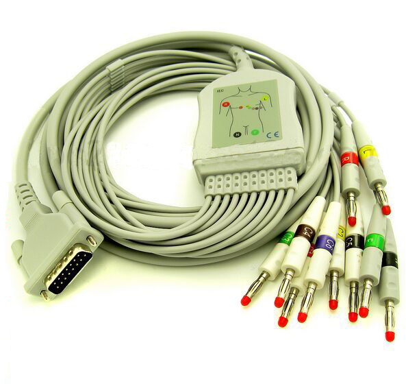 Free Shipping Schiller 10 Lead ECG/EKG Cable AHA Banana 4.0mm AT3 AT6 CS6 AT5 AT10 AT60 купить